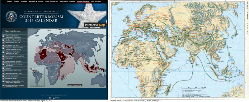 """Screenshot of the National Counter Terrorism Center Interactive Map , April 30, 2013 (left), and """"The Muslim World circa A.D. 1500,"""" from William Brice, An Historical Atlas of Islam (Leiden, 1981), p. 11."""