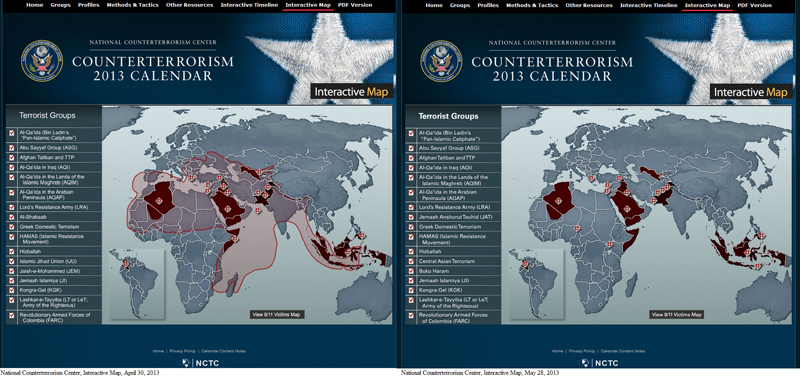 Screenshots of the National Counterterrorism Interactive Map, April 30, 2013 (left), and May 28, 2013 (right).