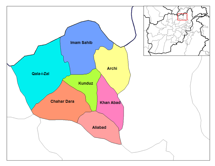 Map of Kunduz Districts