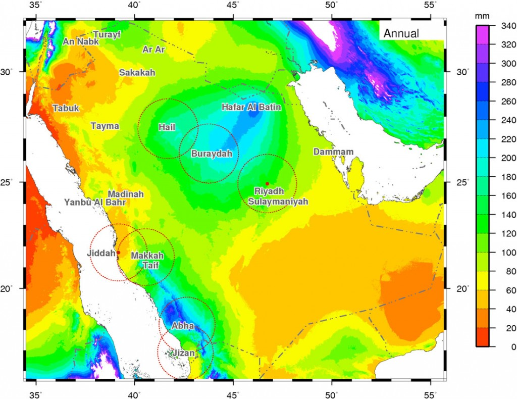 distribution of rainfall in Saudi Arabia