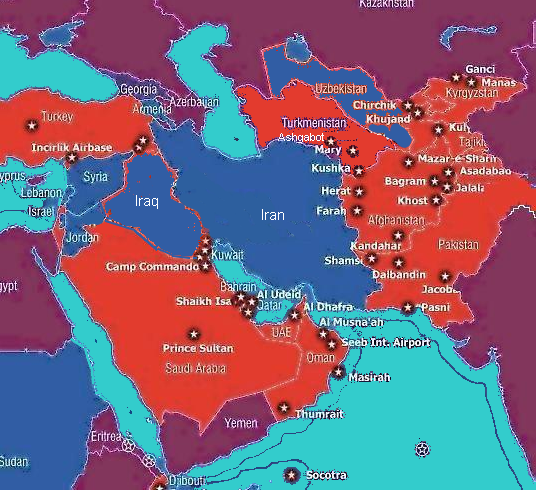 Ring Of Iranian Bases Threatens US Informed Comment - Map Of All Us Military Bases In The World