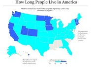 Low Life Expectancy tracks with Opposition to Obamacare (Map)
