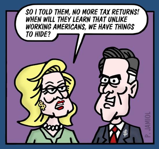 cartoons on romney taxes