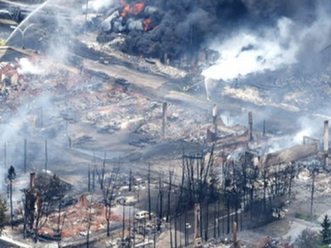 And you Want to transport More Oil across America by rail, pipelines?  Canadian Town destroyed by Railroad Oil Cars