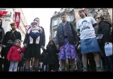 Men in miniskirt protest against student death in Turkey