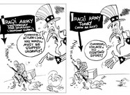 US view of Iraqi Army, before & after 2003  (Political Cartoon)