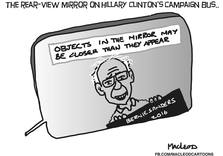 The Rear-View Mirror on Hillary Clinton's Campaign Bus (Political Cartoon)