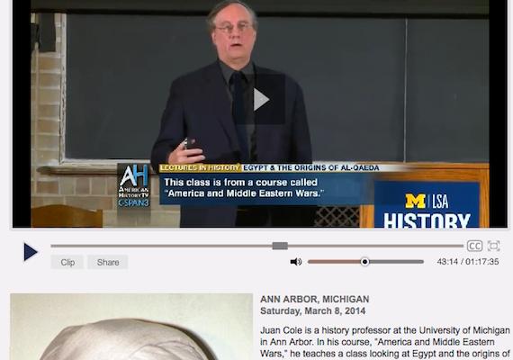 Cole @ C-Span:  Egypt and the Birth of al-Qaeda (video lecture)