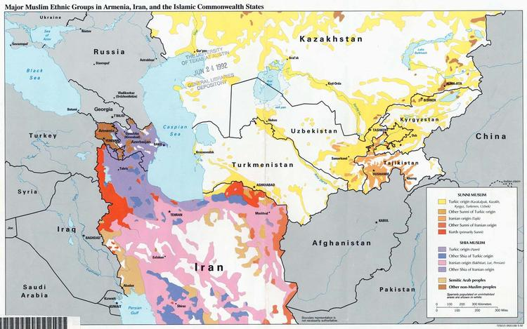 Map Ethnic Groups in Iran and Central Asia