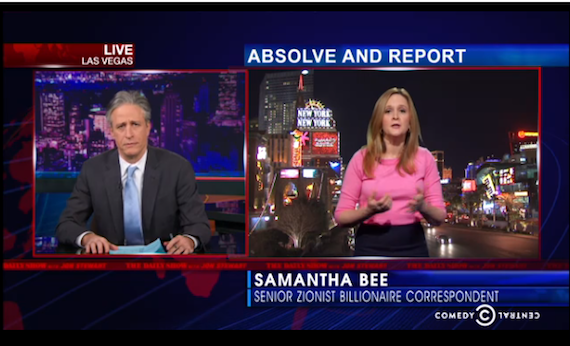 """Jon Stewart/ Daily Show:  Adelson will accept """"Outer Israel"""" as term for Occupied West Bank"""
