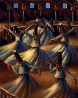 """""""The Whirling Dervishes"""" by Mahmud Said (Painting)"""