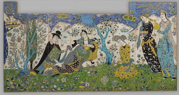 Garden Party, 1640:  Iranian Lady entertains European Gentleman