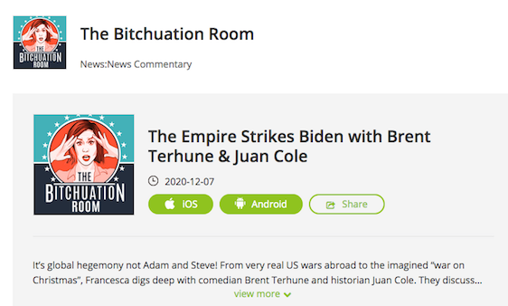 """The Empire Strikes Biden"" with Brent Terhune and Juan Cole – Francesca Fiorentini Podcast"