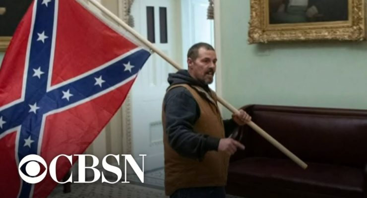 The Confederate battle flag, which rioters flew inside the US Capitol, has long been a symbol of white insurrection