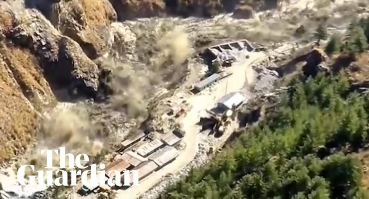 Global heating from CO2 breaks Himalayan Glacier, floods sweep away Scores, destroy Hydroelectric Plant